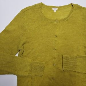 J Crew Olive Green Alpaca Wool Blend Cardigan